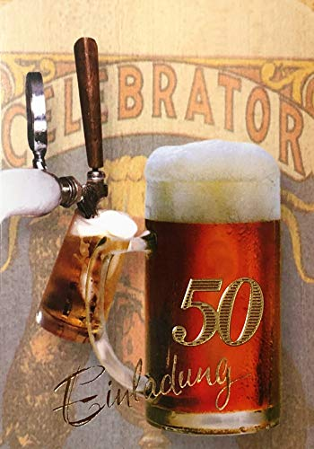 Einladungskarten 50. Geburtstag Frau Mann mit Innentext Motiv Bierkrug 10 Klappkarten DIN A6 im Hochformat mit weißen Umschlägen im Set Geburtstagskarten Einladung 50 Geburtstag Mann Frau K159