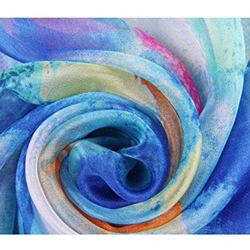 Echarpe en Soie - BienBien Imprimé Foulard en Mousseline UV-Protection Châle Robe de Plage Femme Ete Longue Cache-maillots et Sarongs Grande Taille 175*100cm Patern 14