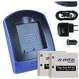 2 Akkus + Ladegerät (Netz+Kfz+USB) für Fuji NP-40 / Pentax D-Li8, D-Li 85 / BenQ DLi-102 / Jay-Tech / Medion uvm - s.Liste