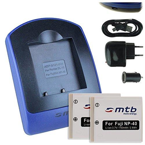 2 Akkus + Ladegerät (Netz+Kfz+USB) für Fuji NP-40 / Pentax D-Li8, D-Li 85 / BenQ DLi-102 / Jay-Tech/Medion UVM - s.Liste - Fuji Np 40