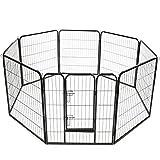 TRESKO® Welpenlaufstall für Hunde, Freilaufgehege, Welpenauslauf, Hundelaufstall, Welpenlaufgitter, für Draußen, den Garten und die Wohnung, Welpenauslaufgehege, Hundeauslaufgehege, Haustiergitter, mobiler Zaun, Welpenzaun für Katzen und viele andere Haustiere, Kaninchenstall, Hasenstall, schwarz, mit Tür, 640 cm Umfang, 80 cm Höhe, robuste Ausführung aus Metall