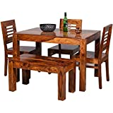 Unique Furniture Wooden Solid Sheesham Wood Dining Table 4 Seater | Dining Table Set with 3 Chairs & 1 Bench | Home Dining Room Furniture Wood Dining Table 4 Seater | Honey Finish