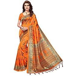 ANNI DESIGNER Silk Saree with Blouse Piece (AD-Deisgn-109_Orange_Free Size)