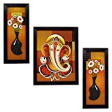#9: Indianara 3 PC SET OF LORD GANESHA PAINTINGS (1160) WITHOUT GLASS 5.2 X 12.5, 9.5 X 12.5, 5.2 X 12.5 INCH