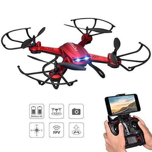 Drone con Telecamera, Potensic Wifi FPV 2.4GHz 4CH 6-Axis Gyro RC Quadcopter Drone con 2 Megapixel HD Camera, 3D Flips funzione –Rosso