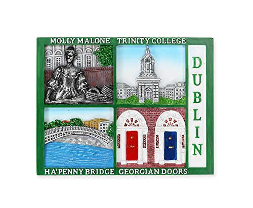 Dublin Postcard Style Magnet with Molly Malone, Trinity College, Ha'penny Bridge & Georgian Doors -