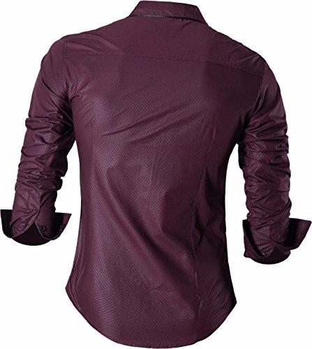 jeansian Herren Freizeit Hemden Shirt Tops Mode Langarmshirts Slim Fit 8397 Z034_WineRed