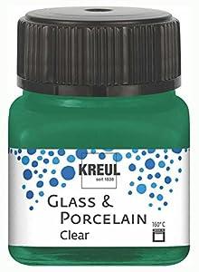 KREUL 16224 Glass & Porcelain - Pintura para Cristal y Porcelana (Base de Agua, Secado rápido, Transparente, 20 ml), Color Verde Oscuro