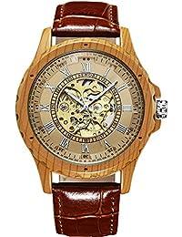 SEWOR reloj para hombre automático de estilo antiguo madera grano caso dial de esqueleto mecánico reloj de pulsera