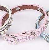 Klassische Plaid Strass Knochenmuster Hund PU Kragen (Pink) Für dein reizendes Haustier