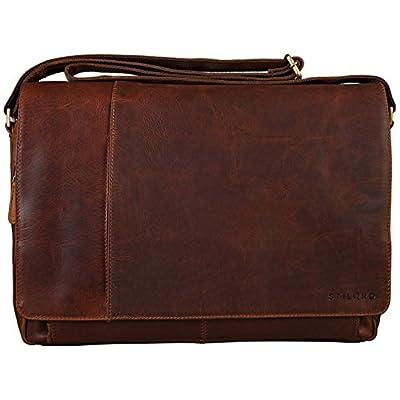 STILORD Vintage Sac à bandoulière en cuir pour homme femme grand sac pour ordinateurs portables 15.6 pouces sac d'affaires pour travail université en véritable cuir