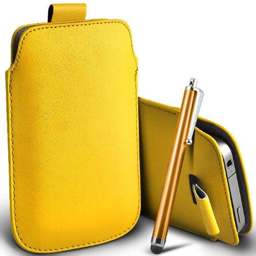 ONX3® T-Mobile G2x Yellow PU Leder Pull Tab Schutztasche Case + Gold Hoher Kapazitive Stylus Pen G2x Stylus
