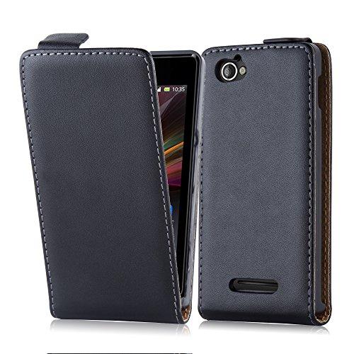 Cadorabo Hülle für Sony Xperia M (1.Gen.) Hülle in KAVIAR Schwarz Handyhülle aus Glattem Kunstleder im Flip Design Case Cover Schutzhülle Etui Tasche Kaviar-Schwarz