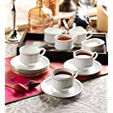 Clay Craft Tea Cups And Saucer Set Of 6 Mona 110 Gold Line (White, Pack Of 12)