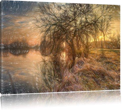 herbstliche Landschaft im Morgengrauen Kunst Buntstift Effekt, Format: 100x70 auf Leinwand, XXL riesige Bilder fertig gerahmt mit Keilrahmen, Kunstdruck auf Wandbild mit Rahmen, günstiger als Gemälde oder Ölbild, kein Poster oder Plakat