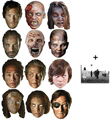 The Walking Dead Entscheidend Karte Partei Gesichtsmasken (Maske) Packung von 12 (enthält 4x Walkers / Zombies, Daryl, Rick, Carl, Carol, The Governor, Michonne, Glenn, Maggie) Enthält 6X4 (15X10Cm) starfoto