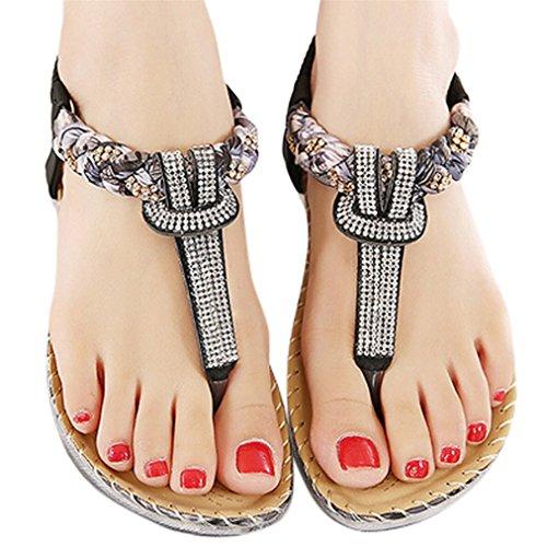 Vovotrade Frauen Bohe Rhinestone Art und Weise flache große Größen Beiläufige Sandelholze Strand Schuhe Schwarz