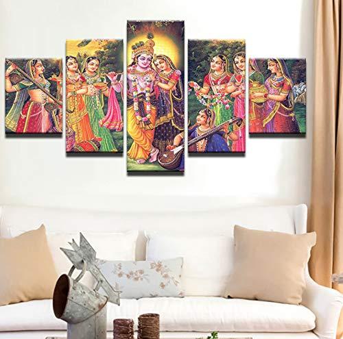 Wiwhy Leinwand Gemälde Wandkunst ModulareWohnkultur Wohnzimmer 5 Stücke Indien Mythos Lord Krishna Poster Vishnu Bilder-30Cmx40/60/80Cm,Without Frame (Animierte Halloween Bilder)