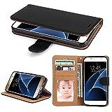 Samsung Galaxy S7 Hülle, SOWOKO Leder Etui Flip Case Handyhülle für Samsung Galaxy S7 Brieftasche Tasche mit Integrierten Kartensteckplätzen und Ständer /Magnetverschluss, Schwarz