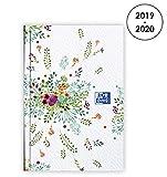 Oxford Agenda Flowers 2019 - 2020 d'Août à Août 2 Jours par Page Format 7, 4X11 Beige