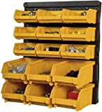 BiGDUG Plastic Wall Garage Storage Parts Bins Bin Kit, 385h x 323w mm (15 Piece)
