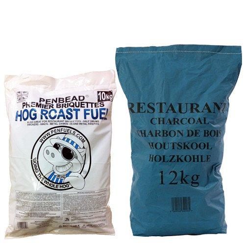 PENFUELS® PENBEAD Premier Charcoal BBQ Briquettes 10kg Plus Restaurant Charcoal 12kg