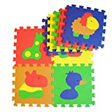 Puzzlematte - Kinder Spielmatte aus 9 Puzzleteilen - Krabbeldecke mit abnehmbaren Ränder - farbige Baby Bodenmatte - 52 teilige Spielteppich mit süßen Tierbildern - formamidfreie Schaumstoffmatte - Happy Mat