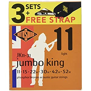 Rotosound JK11-31 Acoustic Guitar Strings with Strap (Pack of 3)