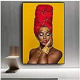 LingYuKeJi Quadro su Tela Decorazioni per la casa Immagine Donna Africana Labbra Sexy Poster Stampato Nudo per Soggiorno Wall Art Canvas Wall Art90x70cm Senza Cornice