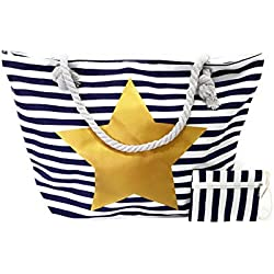 BRANDELIA Bolsos de Playa Grandes con Cremallera de Mujer para Verano + GRATIS Monedero Estilo Marinero con Rayas, Estrella Dorada