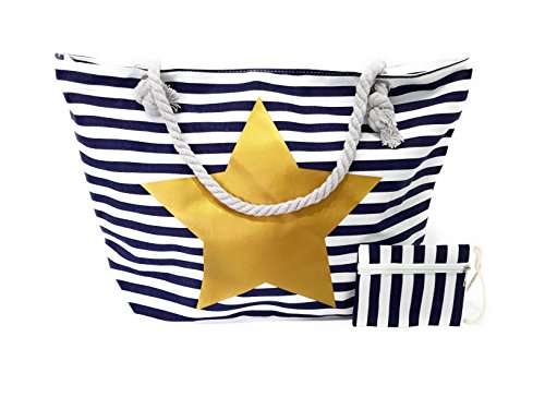 Bolsos de Playa Grandes con Cremallera de Mujer para Verano + GRATIS Monedero Estilo Marinero con Rayas, Estrella Dorada