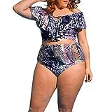 OverDose Plus Size Damen Badeanzug Sport Monokini Beachwear Bademode Badeanzüge Bikini Sets(A-Blue ,3XL)