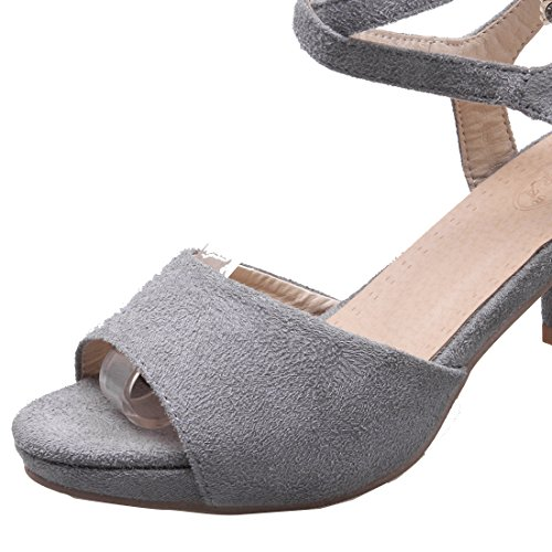 YE Damen Knöchelriemchen Peep Toe Sandalen mit 6cm Absatz Blockabsatz High Heel Schuhe Grau