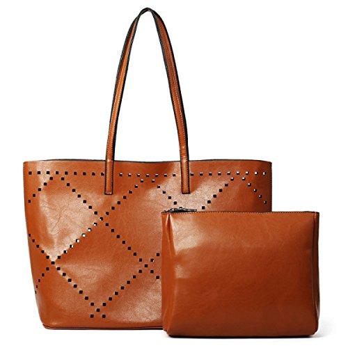 ZPFME Womens Umhängetaschen Mit Mode Rhombus Sets Party Retro Bankett Mode Handtaschen Damen-Taschen Klassisch Brown