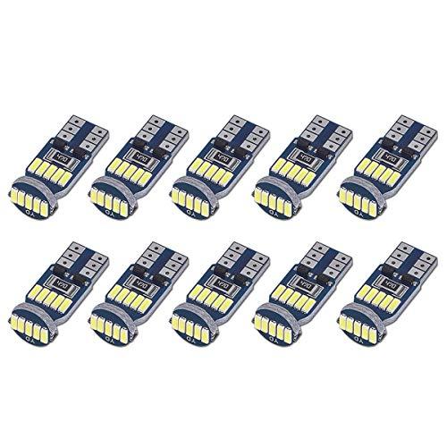 Sanglory 10 x t10 w5w led lampadine canbus, auto lampade 15 x 4014 smd led per luci di posizione, luce targa auto, luce di lettura auto 12v, 6000k bianco (10 pezzi bianco)