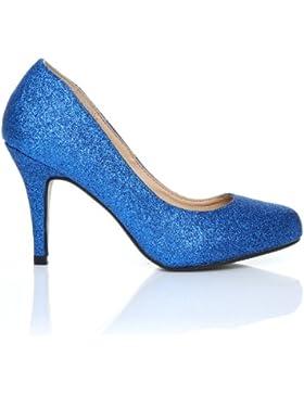 PEARL Scarpe con Tacco a Stiletto Alto Decollete Classiche, Brillantini Blu