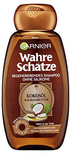 Garnier Wahre Schätze Regenerierendes Shampoo mit Kokosöl & Kakaobutter, für trockenes, widerspenstiges Haar, nährend, 6er-Pack (6 x 250 ml)