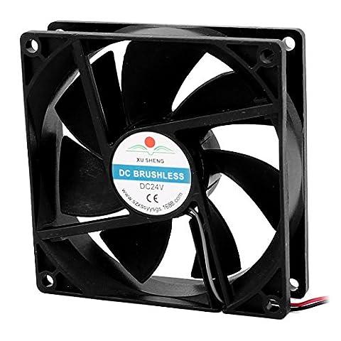 sourcingmap® DC 24V 90mmx90mmx25mm 7 Vanes PC CPU Computer Cooling Fan w Metal Finger Guard