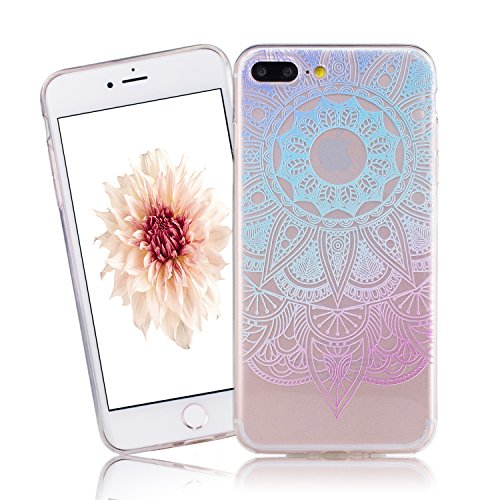 Coque iPhone 7 , iPhone 7 Etui TPU , CaseLover Grand Lotus Fleur Violet Motif Mode Etui Coque TPU Slim pour Apple iPhone 7 (4.7 pouces) Mode Flexible Souple Soft Case Couverture Housse Protection Anti Fleur bleue