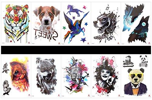 e gefälschte tattoo aufkleber hund temporäre tattoos in einem pakete, gemischte designs als adler, vogel, vogelkäfig, tiger, hund, engel pferd, leopard, böse, bär, etc. ()