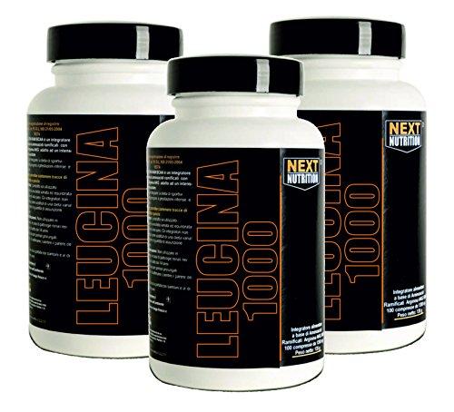 leucina 90 tabletas | 3 paquetes | Aminoácidos Next Nutrition | 1000 mg de leucina por tableta | recuperación de recuperación muscular | suplementos de ciclismo culturismo |