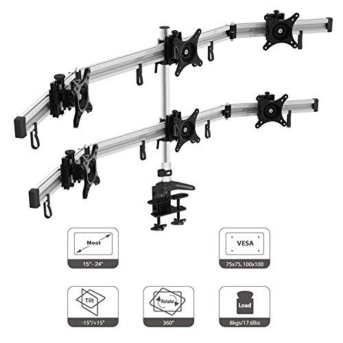 HFTEK MP260C 6 Monitor Desk Stand Mount Bracket for 15 17 19 20 21 22 23 24 INCH WITH VESA 75/100