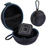 Case für GoPro Hero 5 Session / GoPro Hero 4 Session Minicase für Actioncam runde Tasche aus strapazierfähigem Nylon mit Reißverschluss, Karabiner-Haken und Netztasche Hülle für Kamera in Schwarz von wortek