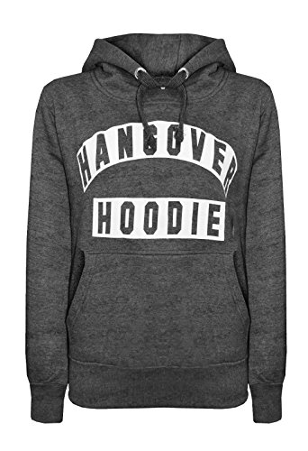 New Womens Hangover Hoodies Print Long Sleeve Ladies Top Sweatshirt (2XL(UK16-18), Charcoal)