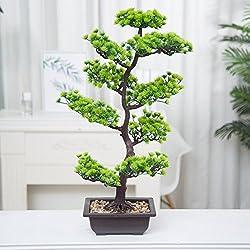 Künstliche Bonsai Baum Pflanze für Büro Zuhause Dekoration, 70cm (Grün), Green (A-40cm) (70cm-B)