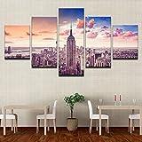 mmwin Decoración de Arte en Lienzo Fotos en Lienzo Impresiones en HD Sala de Estar 5 Piezas Puesta de Sol Ciudad de Nueva York Edificio s Paisaje Urbano Cartel Trabajo