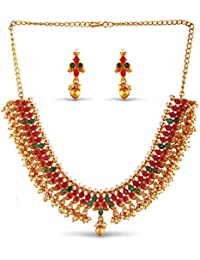 Variarion Gold Plated Wonderful Jewellery Collection Necklace Set With Earrings-VD18181