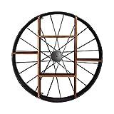 LAXF-Wand Regale Schweberegal Wandregal Metall Eisen | Holzregale Wandverteiler | Cube Regal Wand hängende Schindel als Bücherregal | Floating Unit Rahmen | Wanddekoration Design LOFT Vintage (Rund)