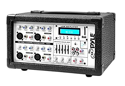 Pyle-Pro PMX402M 4 Channel 400 Watts Powered Mixer w/ MP3 USB Input