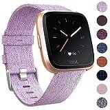 CAVN Fitbit Versa Bracelet Tissée, Réglable Courroie de Remplacement Bracelet de Montre à Libération Rapide (6-Lavande)